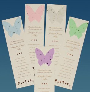 Butterfly Plantable Seed Memorial Bookmarks