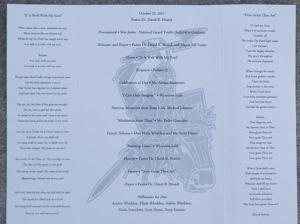 Dan Wheldon's Funeral Program Inside