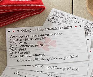 Recipe Card Idea for Funeral