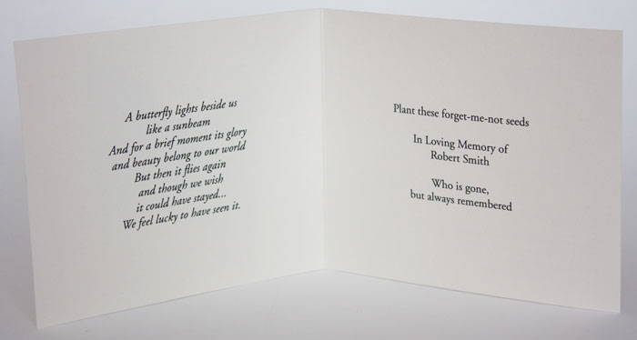 Butterflyforgetmenotinside  Funeral Words For Cards