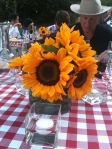 The Sunflowers added such a bright touch to all the tables. No dreary funeral flower here!