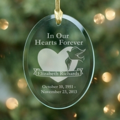 In our hearts forever glass oval ornament