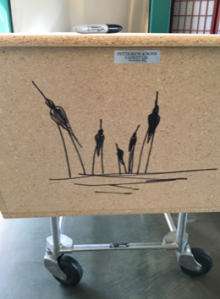 Five birds drawn on casket